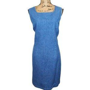 CAbi Denim Shift Dress Square Neck - N782